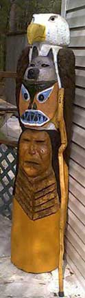 totem pole eagle wolf indian native